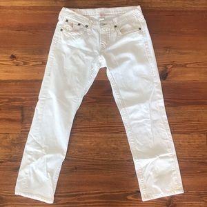True Religion White Boyfriend Jeans